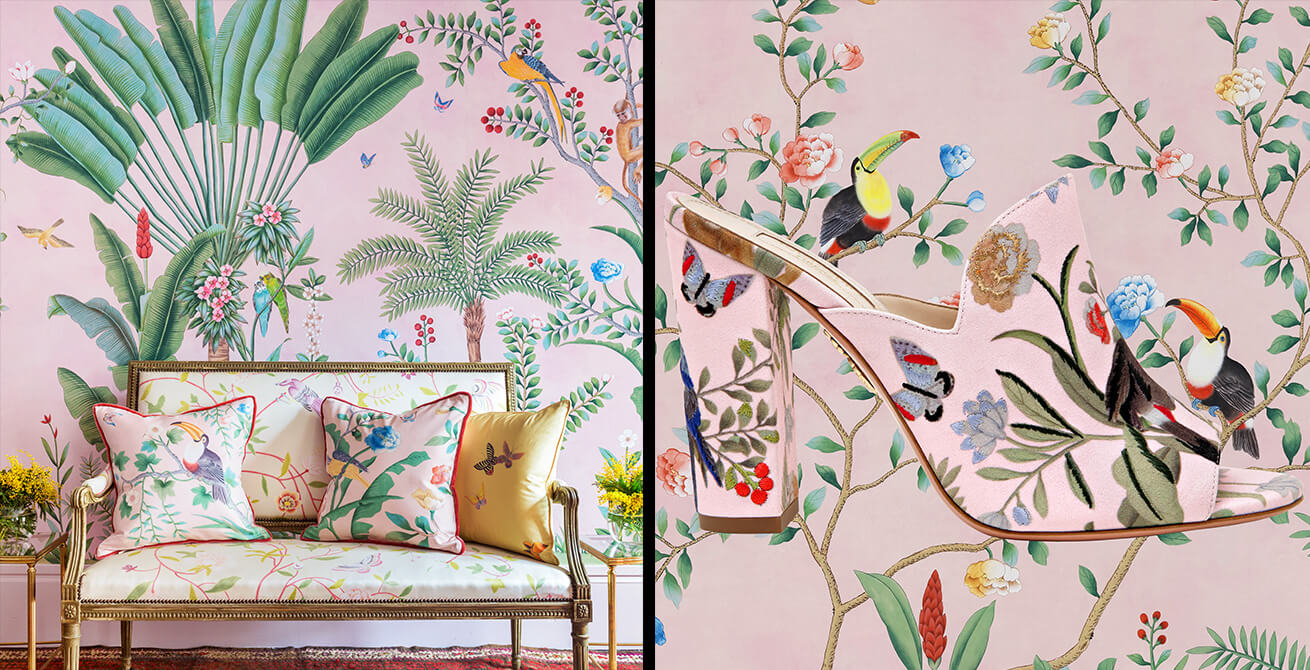 de gournay pink wallpaper