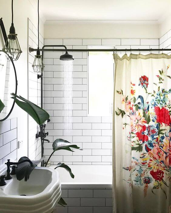 tiles bath shower curtain