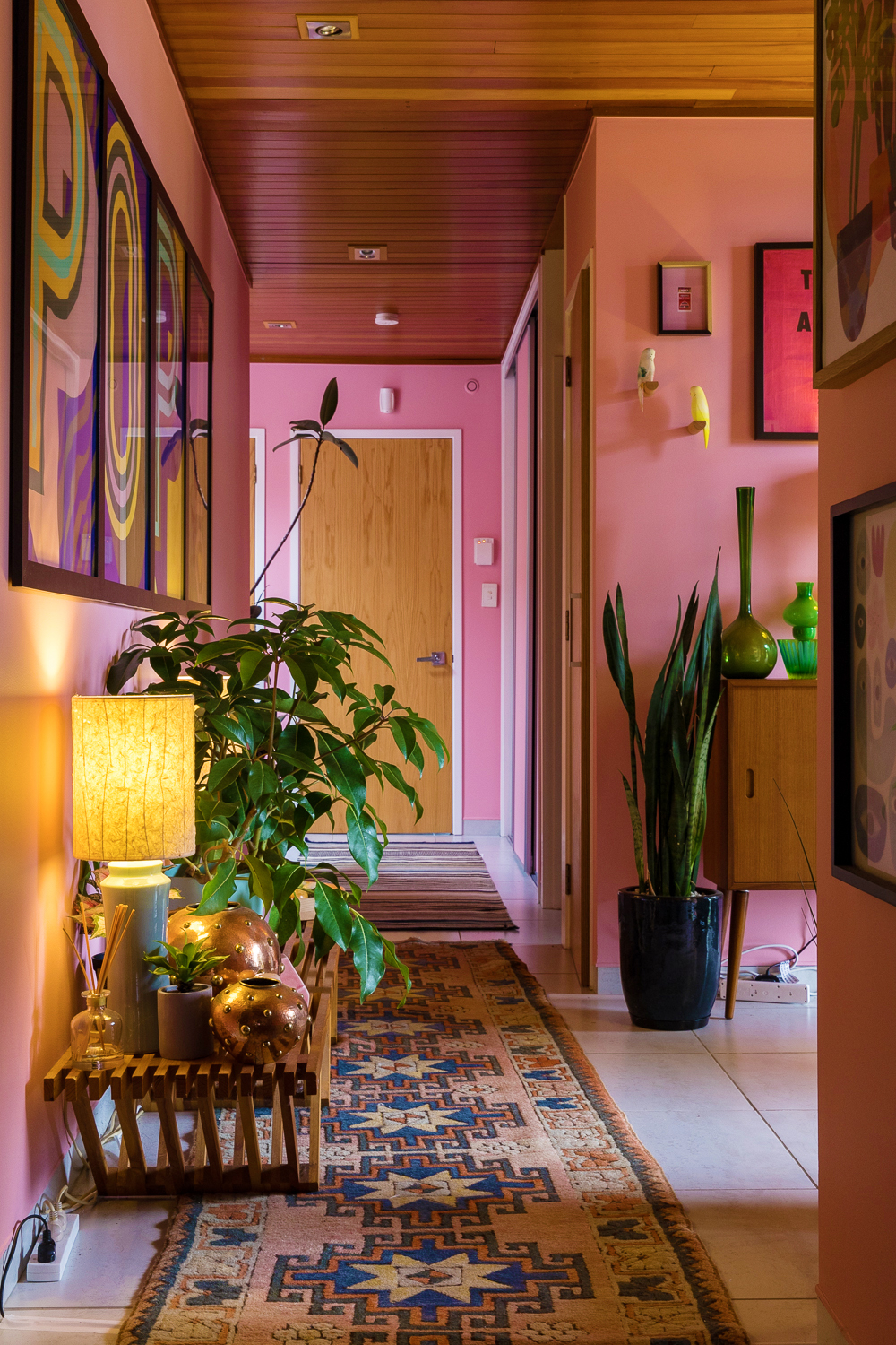 millennial pink hallway colorful home
