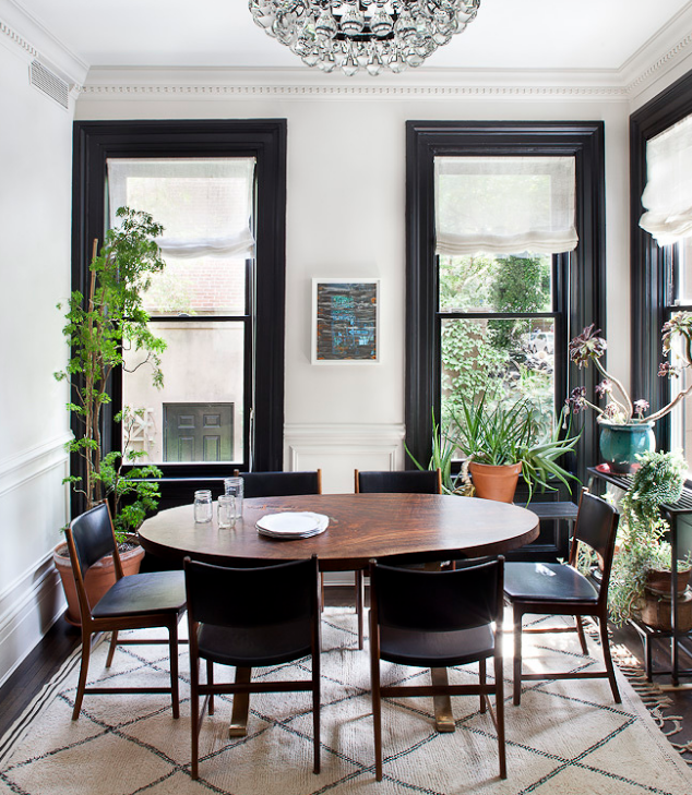 black window trims dining room