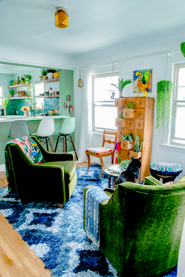 Bohemian living room and kitchen