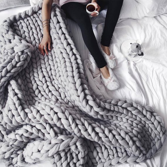 hygge home decor knit blanket