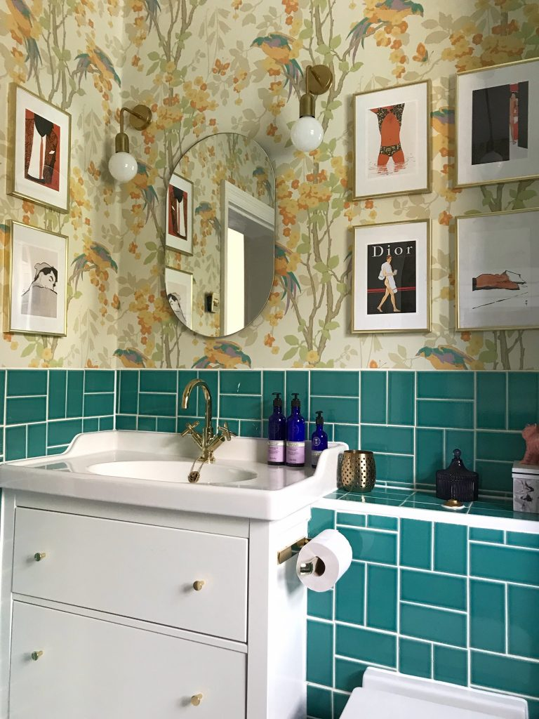 bathroom makeover with walpaper